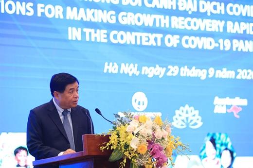 Bộ trưởng Bộ Kế hoạch và Đầu tư Nguyễn Chí Dũng phát biểu khai mạc Diễn đàn VRDF 2020