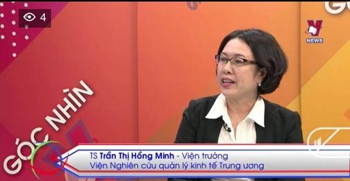 TS. Trần Thị Hồng Minh trong chương trình Góc nhìn Vnews, Truyền hình Thông tấn
