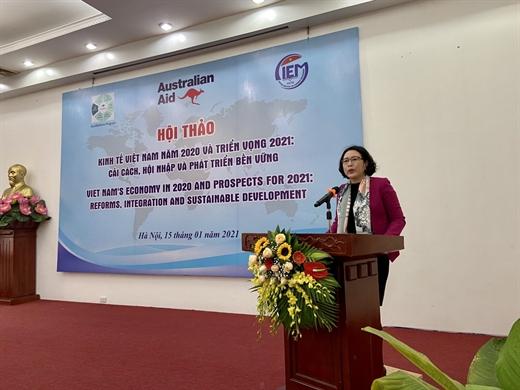 Tiến sĩ Trần Thị Hồng Minh, Viện trưởng CIEM, Giám đốc dự án Aus4Reform phát biểu